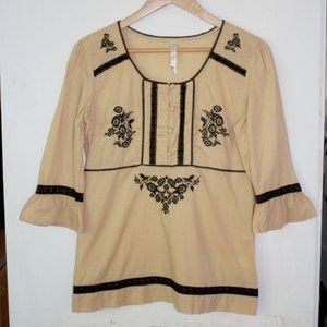 Penny Lane Blouse Petite PXL 3/4 Sleeve Brown Embroidery Floral Cottagecore